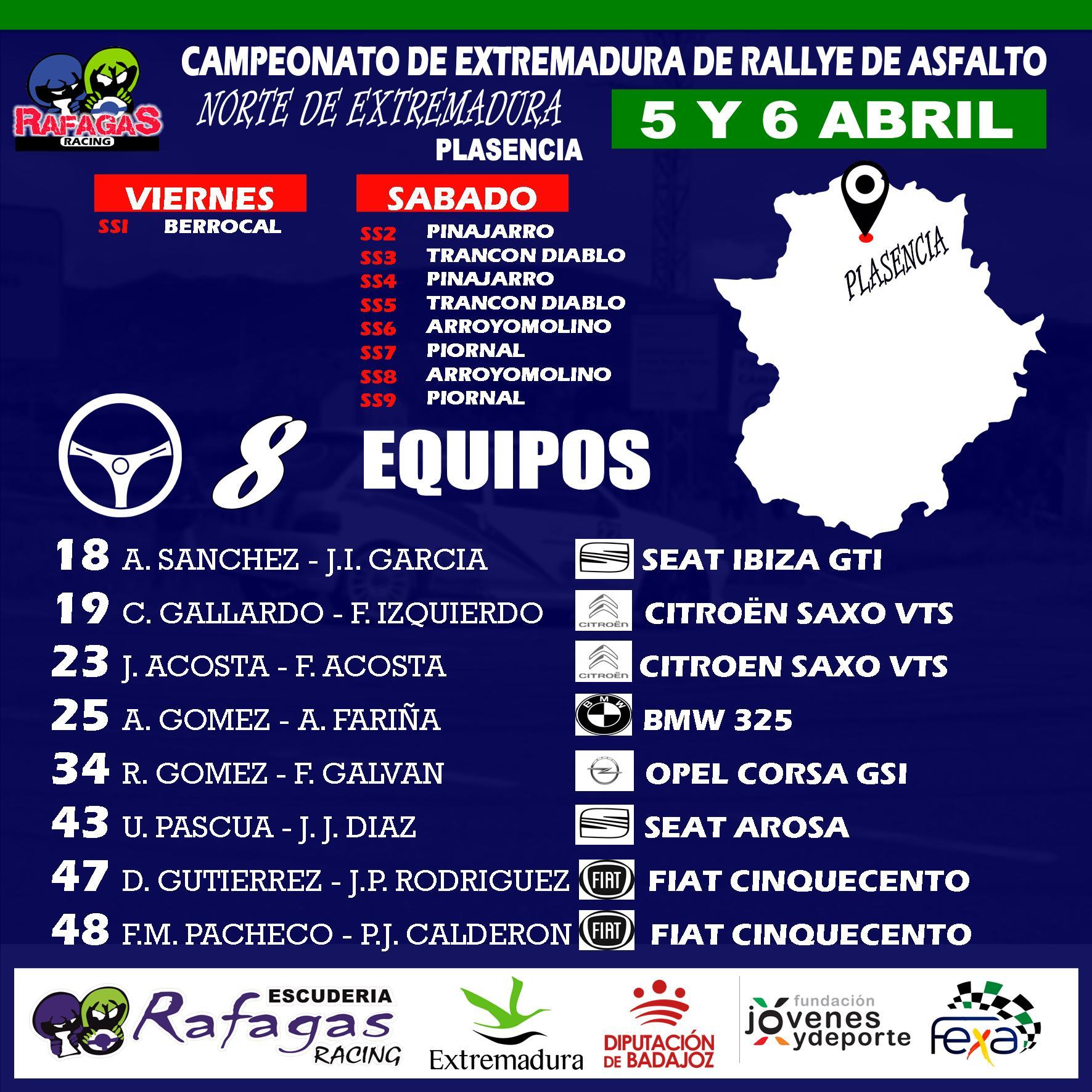 Ocho equipos de la Escuderia Rafagas Racing en el 34º Rallye Norte de Extremadura